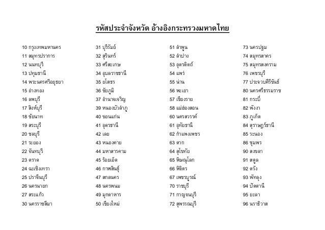 รหัสประจำจจังหวััด อ้าจงอ้งงกระทรวังมหจดไทย 10 กรุงเทพมหานคร 11 สมุทรปราการ 12 นนทบุรี 13 ปทุมธานี 14 พระนครศรีอยุธยา 15 อ...
