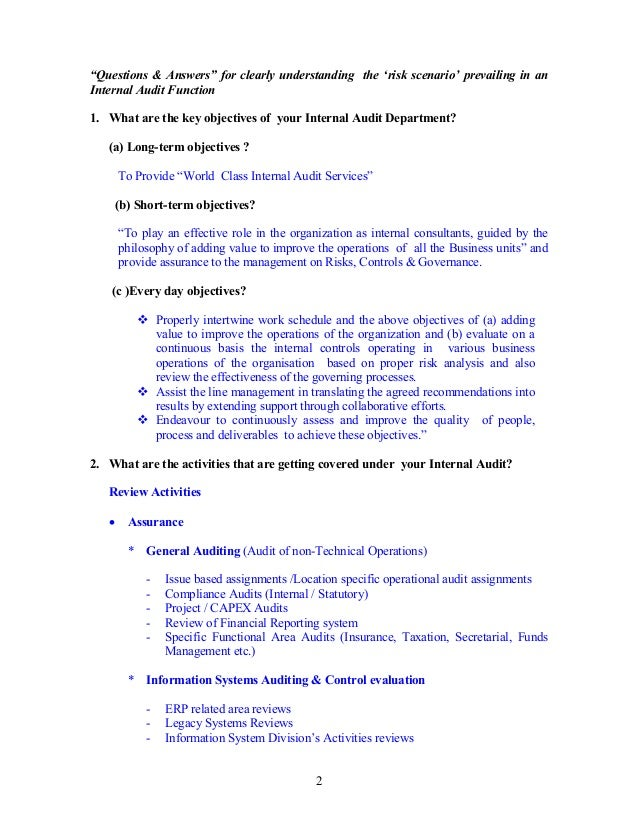 For model i 4a 11 risk assessment in the internal audit depart section a 2 2 questions pronofoot35fo Choice Image