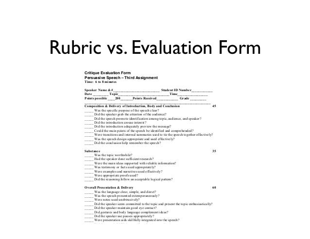 Evaluating the Evaluation Form An analysis of the standard speech ru – Speaker Evaluation Form