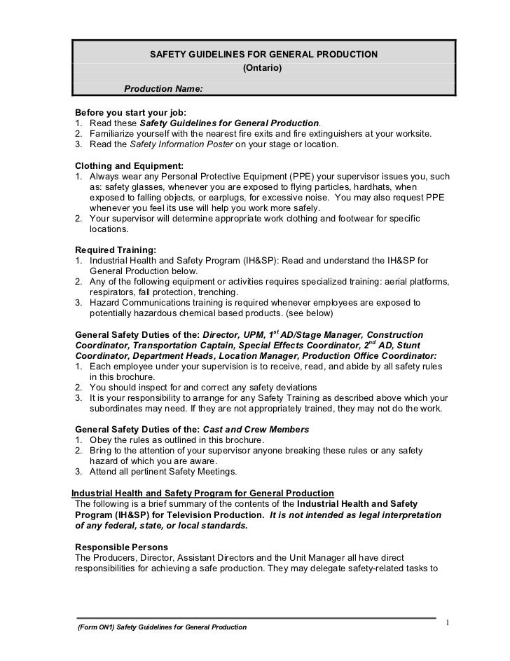 SAFETY GUIDELINES FOR GENERAL PRODUCTION                                       (Ontario)              Production Name:Befo...