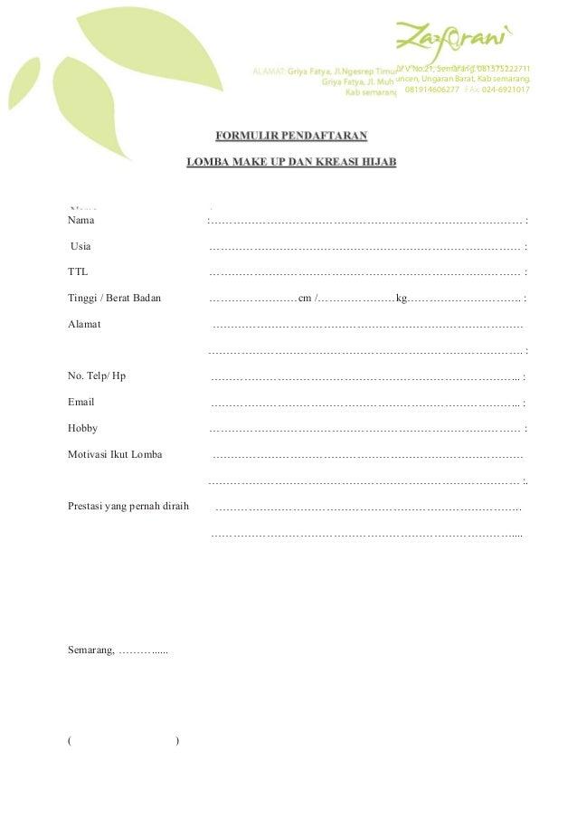Contoh Formulir Anggota - Contoh SR