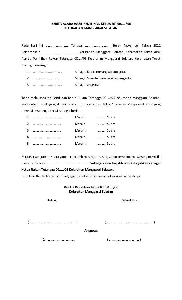 Form Pemilihan Ketua Rt