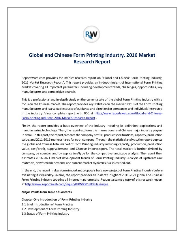 Global and Chinese Form Printing Industry Research Report ...