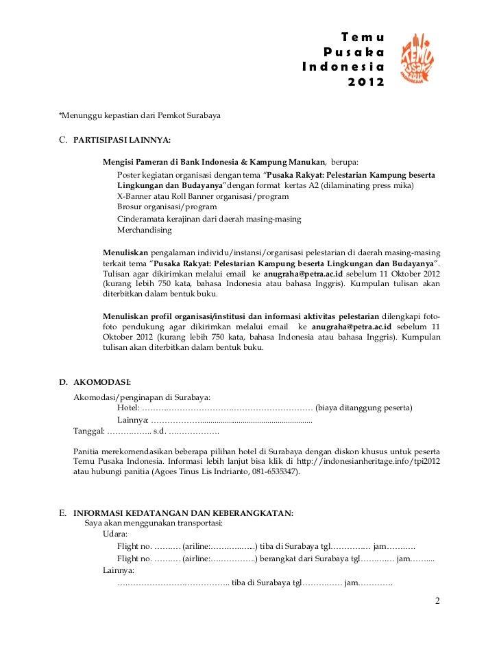 Form Pendaftaran Temu Pusaka Indonesia 2012