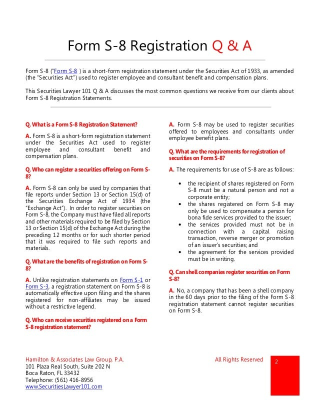 Form S-8 Registration Statements - Securities Lawyer 101