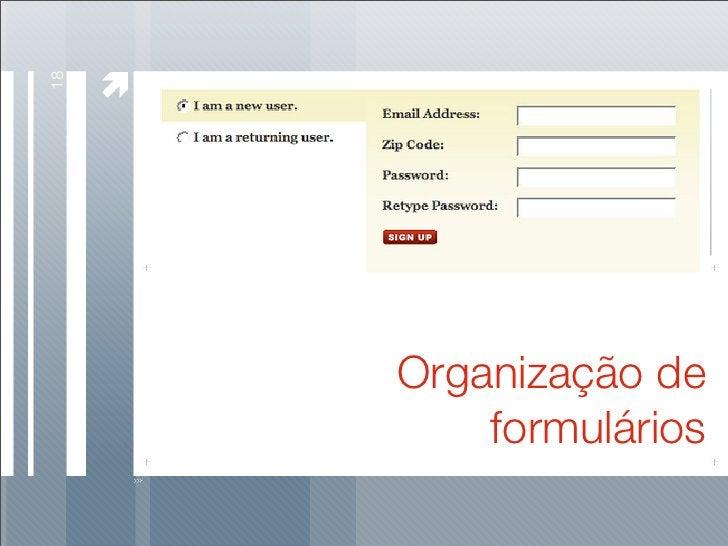 18          Organização de          formulários