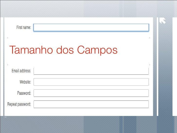 Tamanho dos Campos