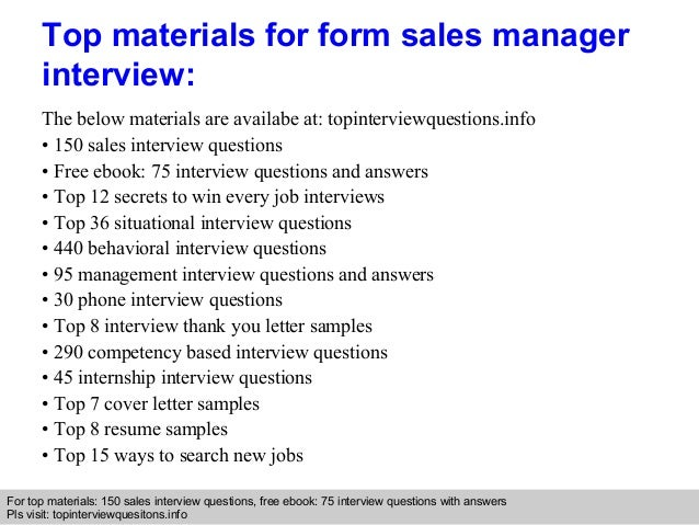 form sales manager interview questions and answers
