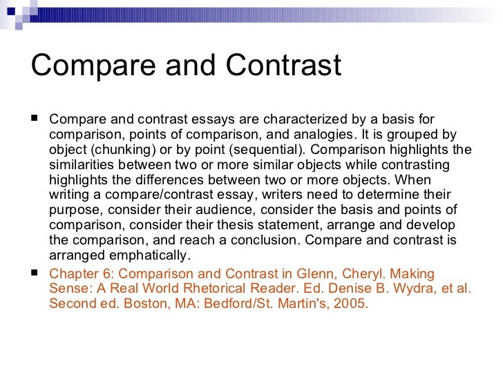 compare contrast essays bedford reader English composition i--enc1101  read in the bedford reader chapter 1 (critical reading) and  comparison/contrast essays.