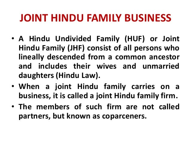hindu undivided family The procedure of partition of property under hindu law of hindu undivided  family (huf) free legal advice on indian property matters.