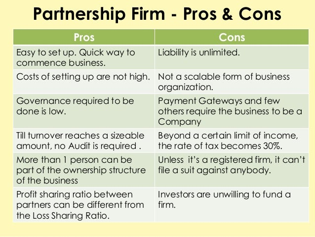Business Partnerships, Pros and Cons