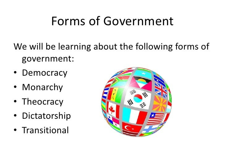 Forms of Government and Economic Systems – Forms of Government Worksheet
