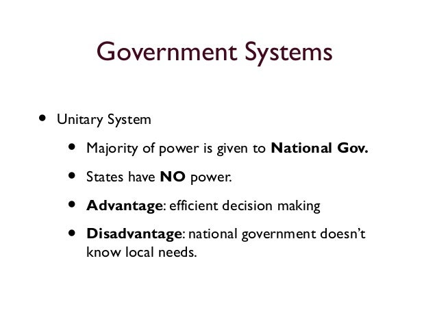 disadvantages of unitary government