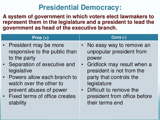 what is presidential form of democracy and its pros and cons Pros and cons of federal reserve with the federal reserve act signed into law by president woodrow it is important to weigh down its pros and cons.
