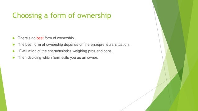 Forms of ownership Slide 2