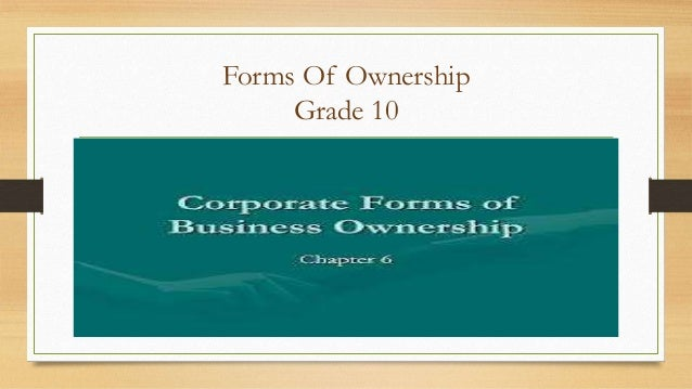 Forms Of Ownership Grade 10