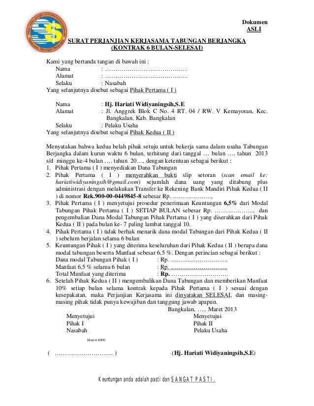 Form Surat Perjanjian Kerjasama Maret 2013 New