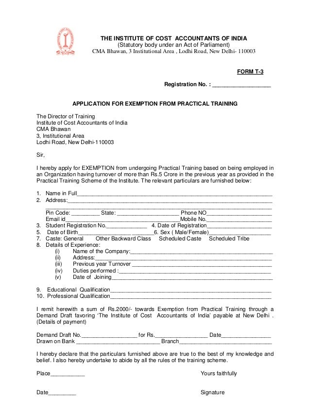 Form t3 revised the institute of cost accountants of india statutory body under yelopaper Images
