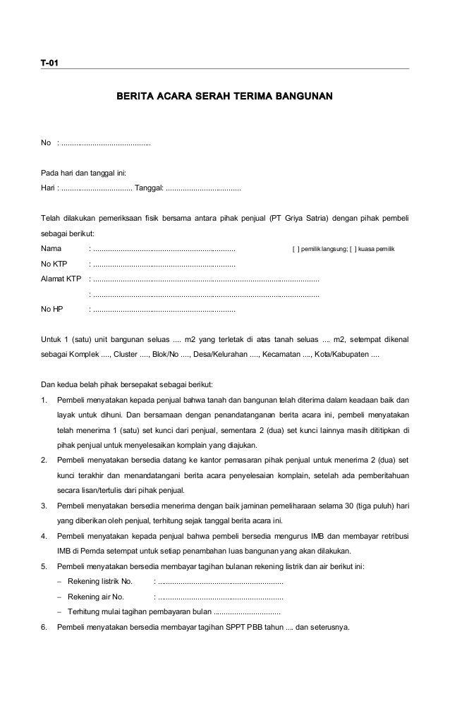 Form tek01 (berita acara serah terima bangunan)