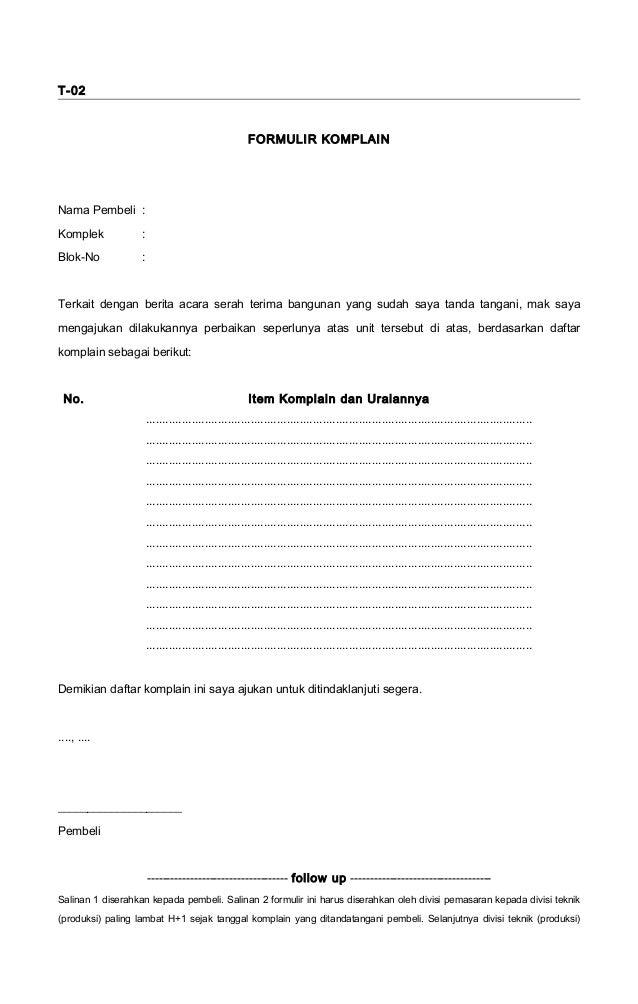 contoh formulir komplain contoh daftar isi