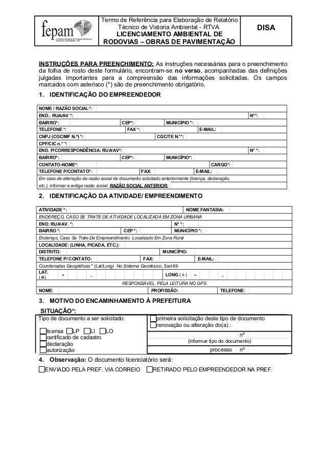 Termo de Referência para Elaboração de Relatório Técnico de Vistoria Ambiental - RTVA  DISA  LICENCIAMENTO AMBIENTAL DE RO...