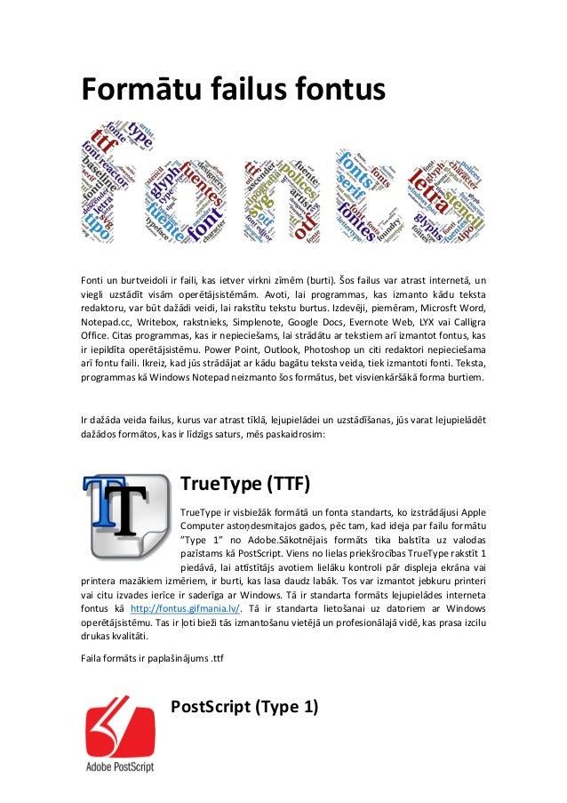 Formātu failus fontus Fonti un burtveidoli ir faili, kas ietver virkni zīmēm (burti). Šos failus var atrast internetā, un ...