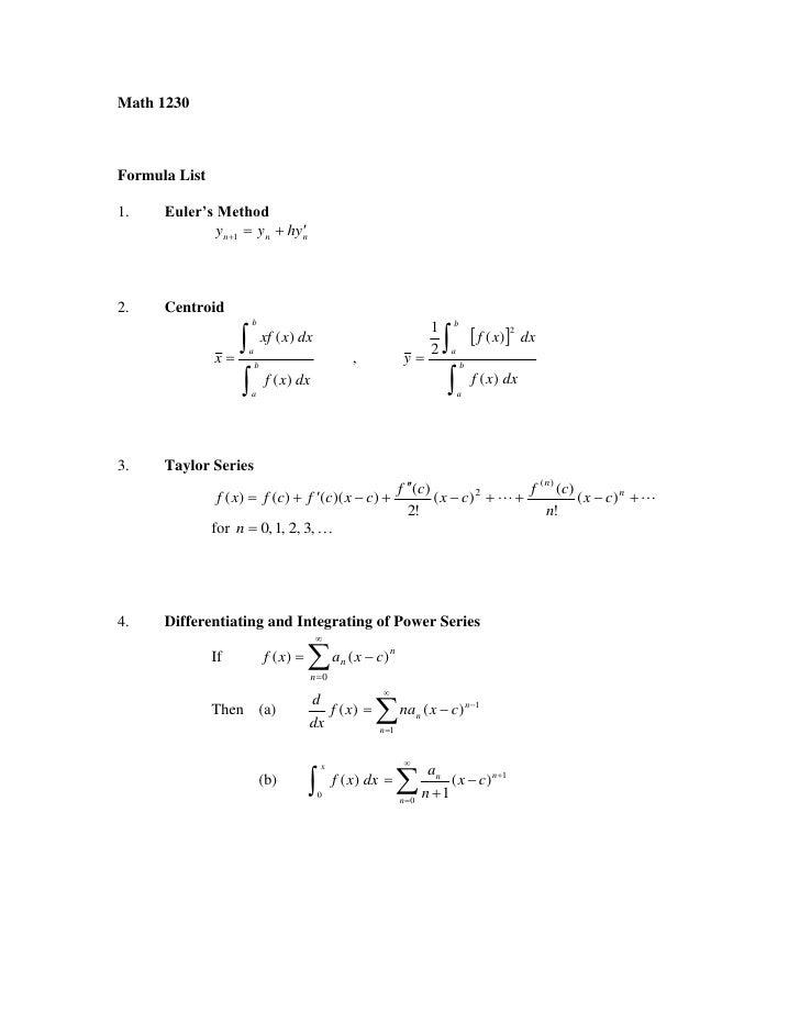 Math 1230    Formula List  1.    Euler's Method                                               y n1  y n  hy n    2.   ...