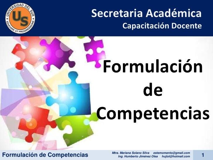 Secretaria Académica                                       Capacitación Docente                               Formulación ...