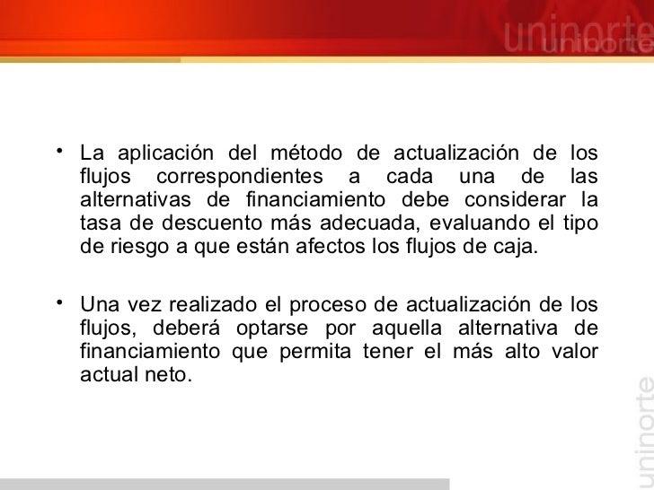 <ul><li>La aplicación del método de actualización de los flujos correspondientes a cada una de las alternativas de financi...