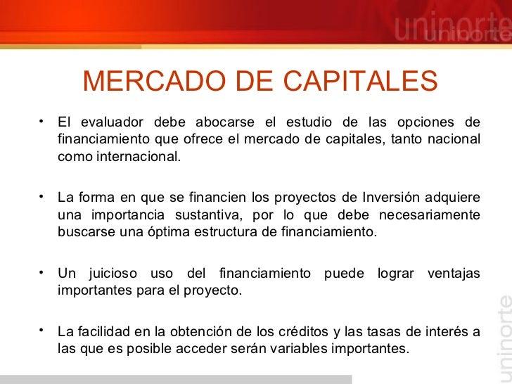 MERCADO DE CAPITALES <ul><li>El evaluador debe abocarse el estudio de las opciones de financiamiento que ofrece el mercado...