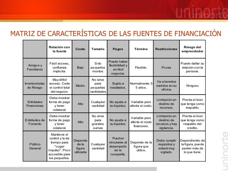 MATRIZ DE CARACTERÍSTICAS DE LAS FUENTES DE FINANCIACIÓN