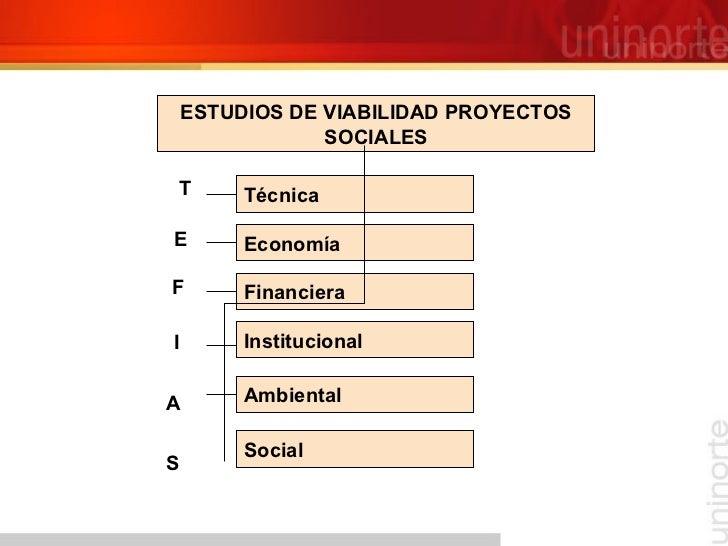 ESTUDIOS DE VIABILIDAD PROYECTOS SOCIALES Técnica Economía Financiera Institucional Ambiental Social T E F I A S