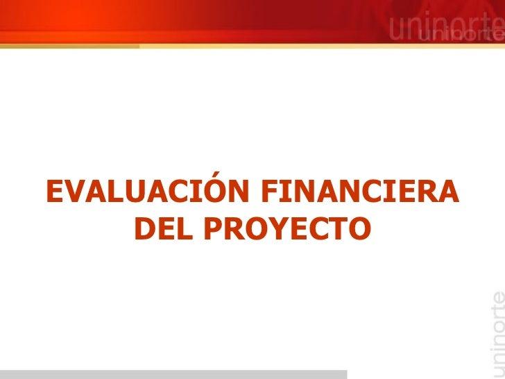 EVALUACIÓN FINANCIERA DEL PROYECTO