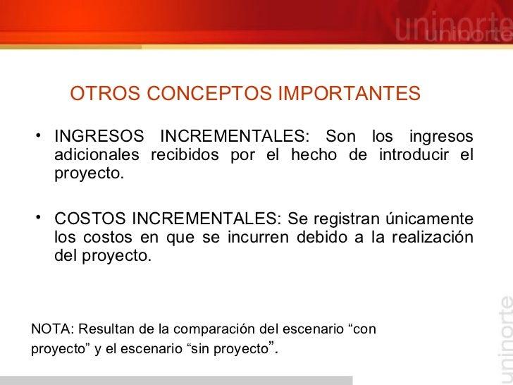 OTROS CONCEPTOS IMPORTANTES <ul><li>INGRESOS INCREMENTALES: Son los ingresos adicionales recibidos por el hecho de introdu...
