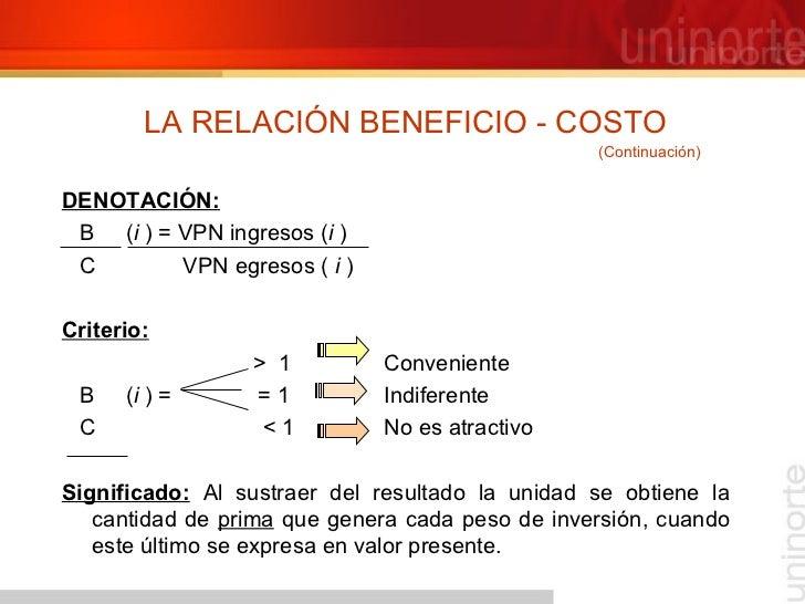 LA RELACIÓN BENEFICIO - COSTO <ul><li>DENOTACIÓN: </li></ul><ul><li>B  ( i  ) = VPN ingresos ( i  ) </li></ul><ul><li>C  V...