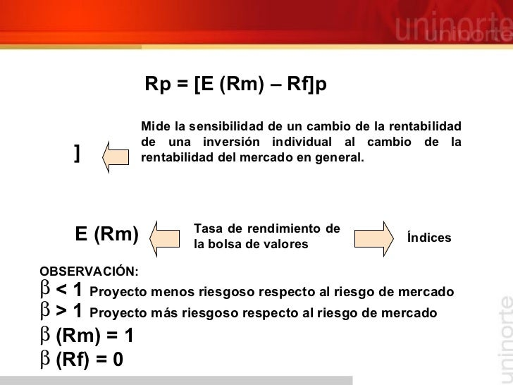 Rp = [E (Rm) – Rf ]  Mide la sensibilidad de un cambio de la rentabilidad de una inversión individual al cambio de la re...