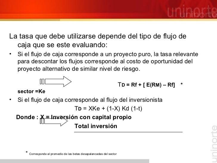 <ul><li>La tasa que debe utilizarse depende del tipo de flujo de caja que se este evaluando: </li></ul><ul><li>Si el flujo...