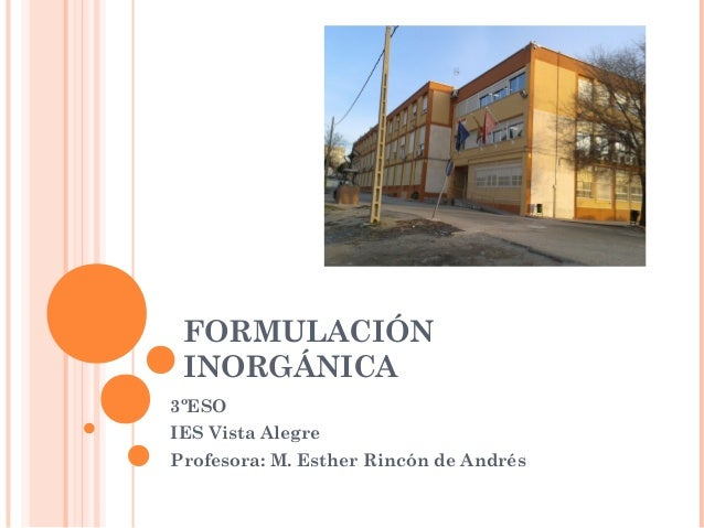FORMULACIÓN  INORGÁNICA  3ºESO  IES Vista Alegre  Profesora: M. Esther Rincón de Andrés