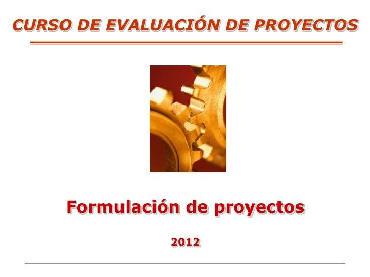 CURSO DE EVALUACIÓN DE PROYECTOS    Formulación de proyectos              2012