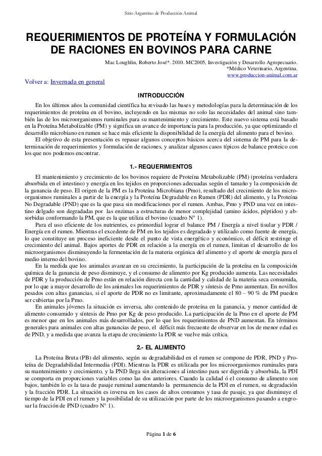 Sitio Argentino de Producción Animal  REQUERIMIENTOS DE PROTEÍNA Y FORMULACIÓN DE RACIONES EN BOVINOS PARA CARNE Mac Lough...