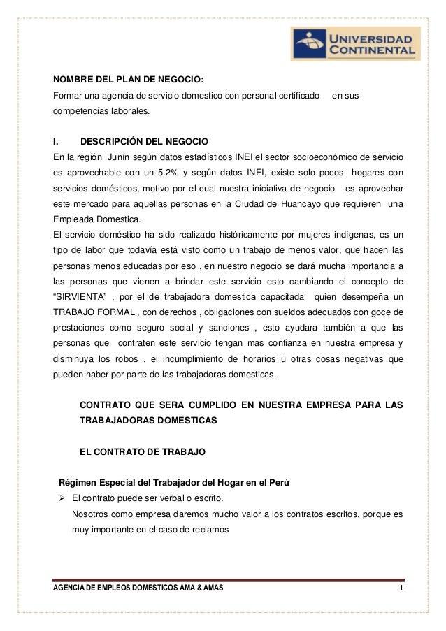 Formulacion y evaluacion agencia de empleos domesticos for Modelo de contrato de trabajo de empleada domestica