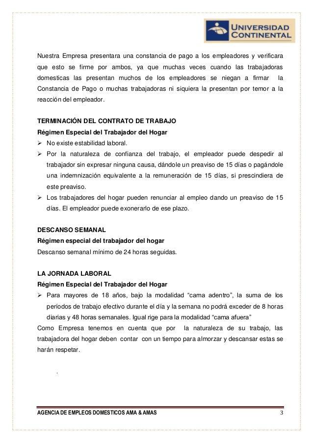 formulacion y evaluacion agencia de empleos domesticos On contrato de trabajadora del hogar