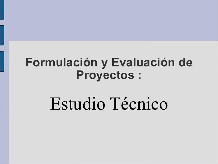 Formulación y Evaluación de Proyectos : Estudio Técnico