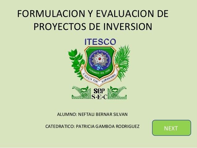 FORMULACION Y EVALUACION DE   PROYECTOS DE INVERSION         ALUMNO: NEFTALI BERNAR SILVAN     CATEDRATICO: PATRICIA GAMBO...