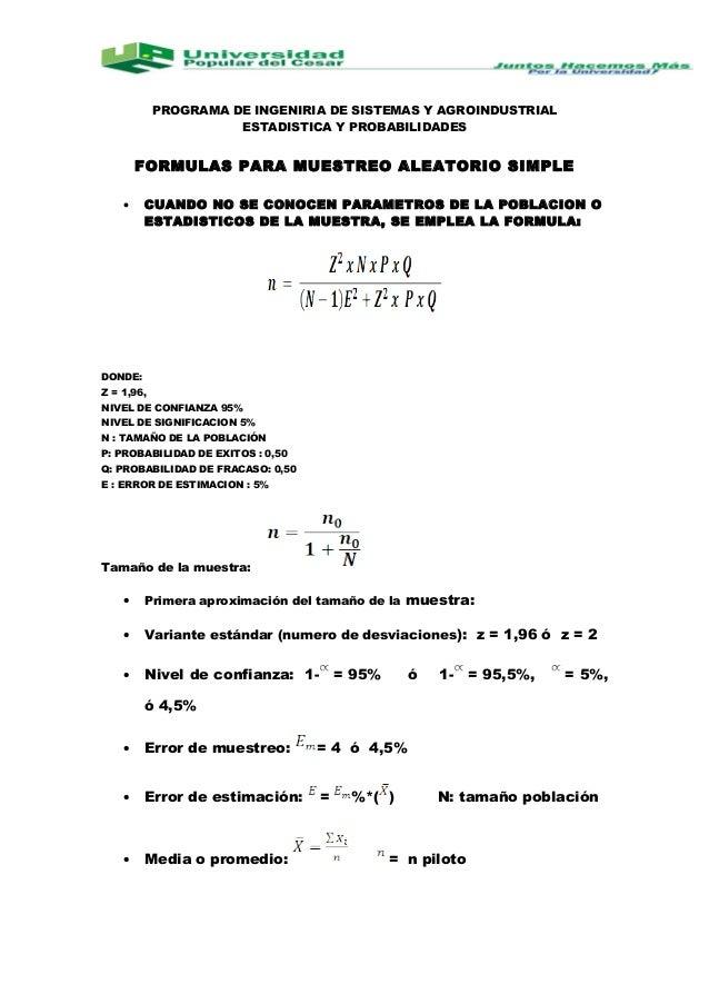 PROGRAMA DE INGENIRIA DE SISTEMAS Y AGROINDUSTRIALESTADISTICA Y PROBABILIDADESFORMULAS PARA MUESTREO ALEATORIO SIMPLE• CUA...