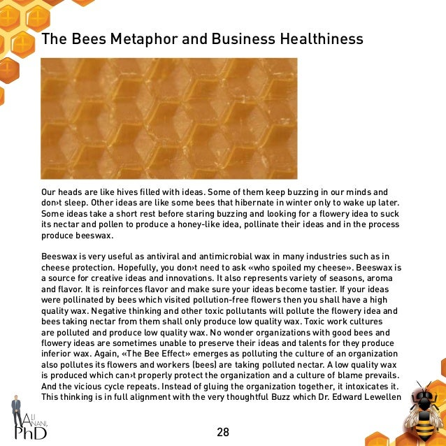 28 The Bees Metaphor and Business Healthiness Our heads are like hives filled with ideas. Some of them keep buzzing in our...