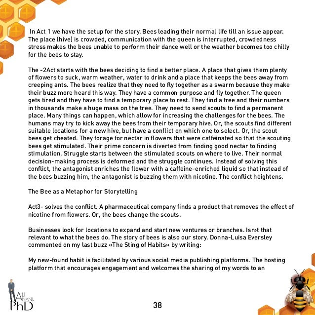 38 In Act 1 we have the setup for the story. Bees leading their normal life till an issue appear. The place (hive) is crow...