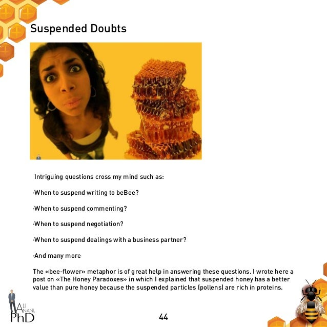 44 Suspended Doubts Intriguing questions cross my mind such as: ·When to suspend writing to beBee? ·When to suspend commen...