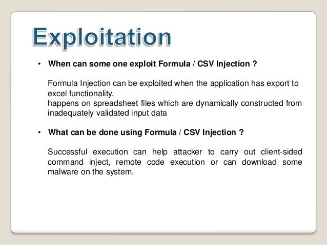 Formula Injection by Chirag Savla