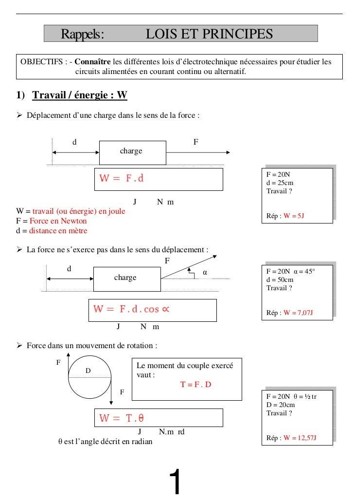 Rappels:                    LOIS ET PRINCIPES OBJECTIFS : - Connaître les différentes lois d'électrotechnique nécessaires ...